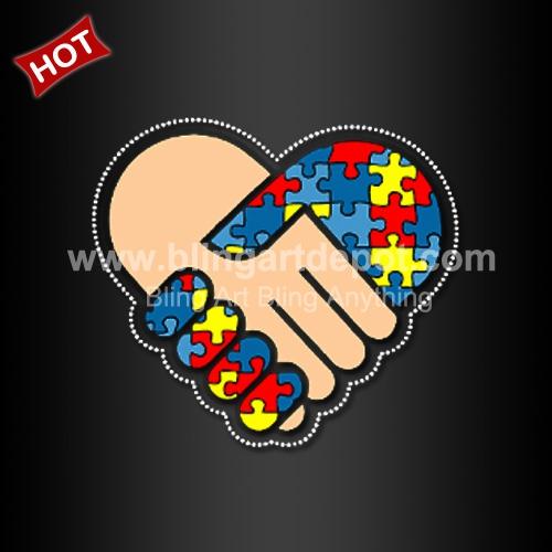 Autism Awareness Love Iron-on Glitter Vinyl /& Rhinestone Transfer