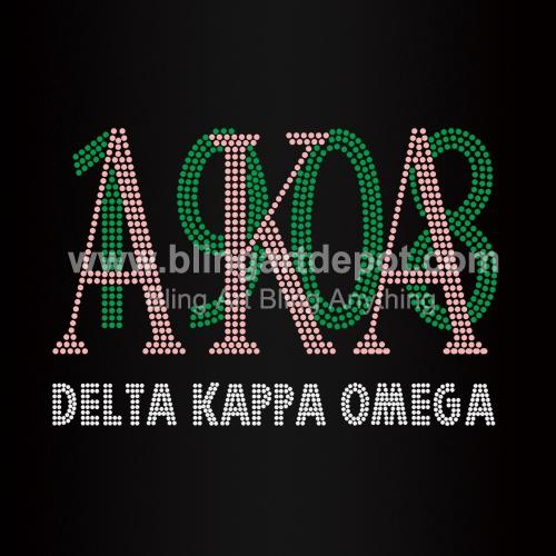5b958fe01a Delta Kappa Omega Letters Iron On Rhinestone Heat Transfers for ...