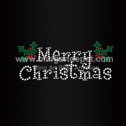 merry christmas iron on rhinestone heat transfers