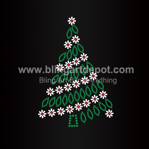 christmas tree iron on rhinestone transfers