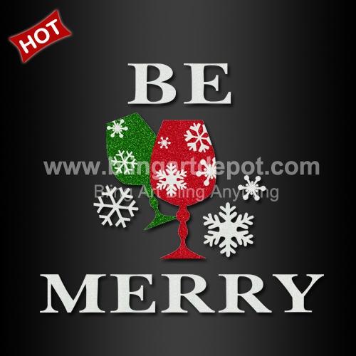 be merry christmas iron on heat transfers vinyl glitter design for xmas decoration